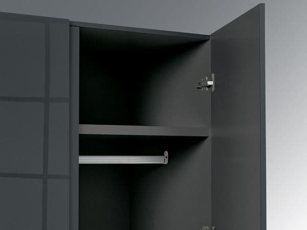 Troyes Charcoal High Gloss 2 Door Wardrobe 19LD81